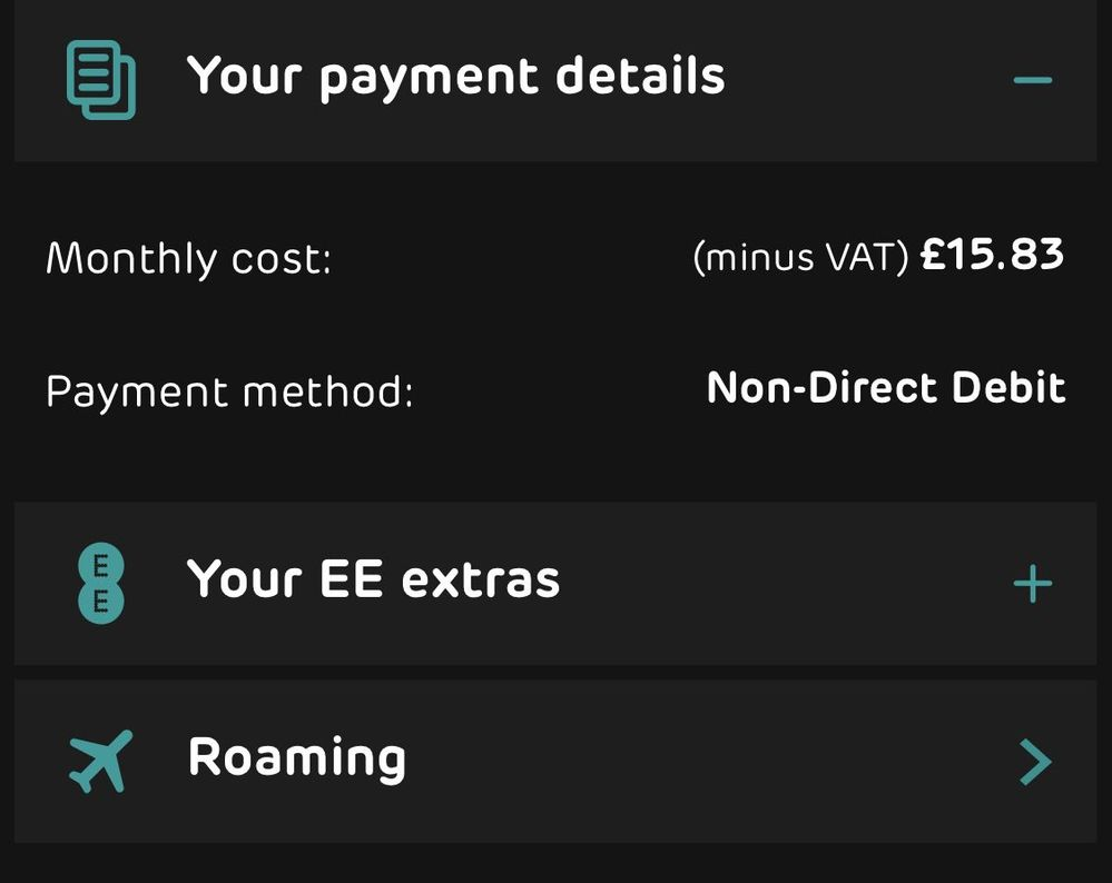 it's non direct debit, but I can't change my payment card on my own on the app or website. thank you