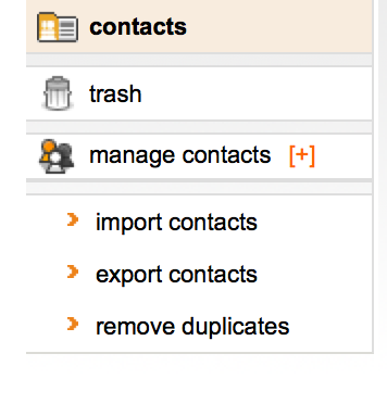 Click on 'export contacts'